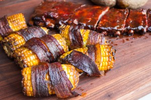 Bacon wrapped smoked corn on cob