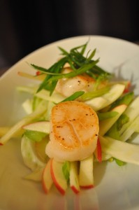 Smoked Scallops on fennel